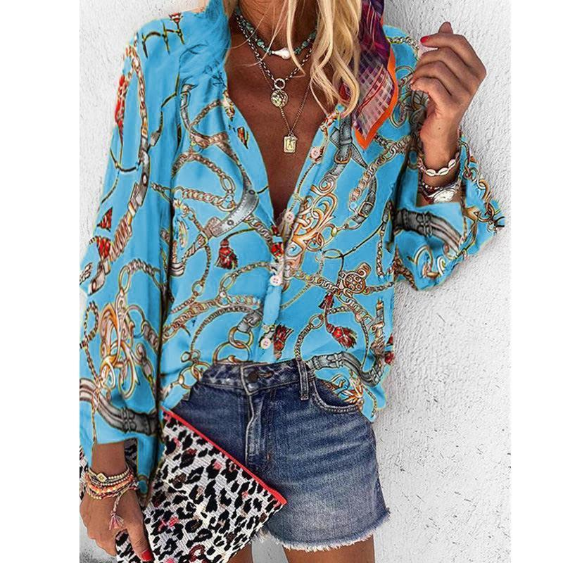 Women Printed Long Sleeved V Neck Button Loose Shirt Tops