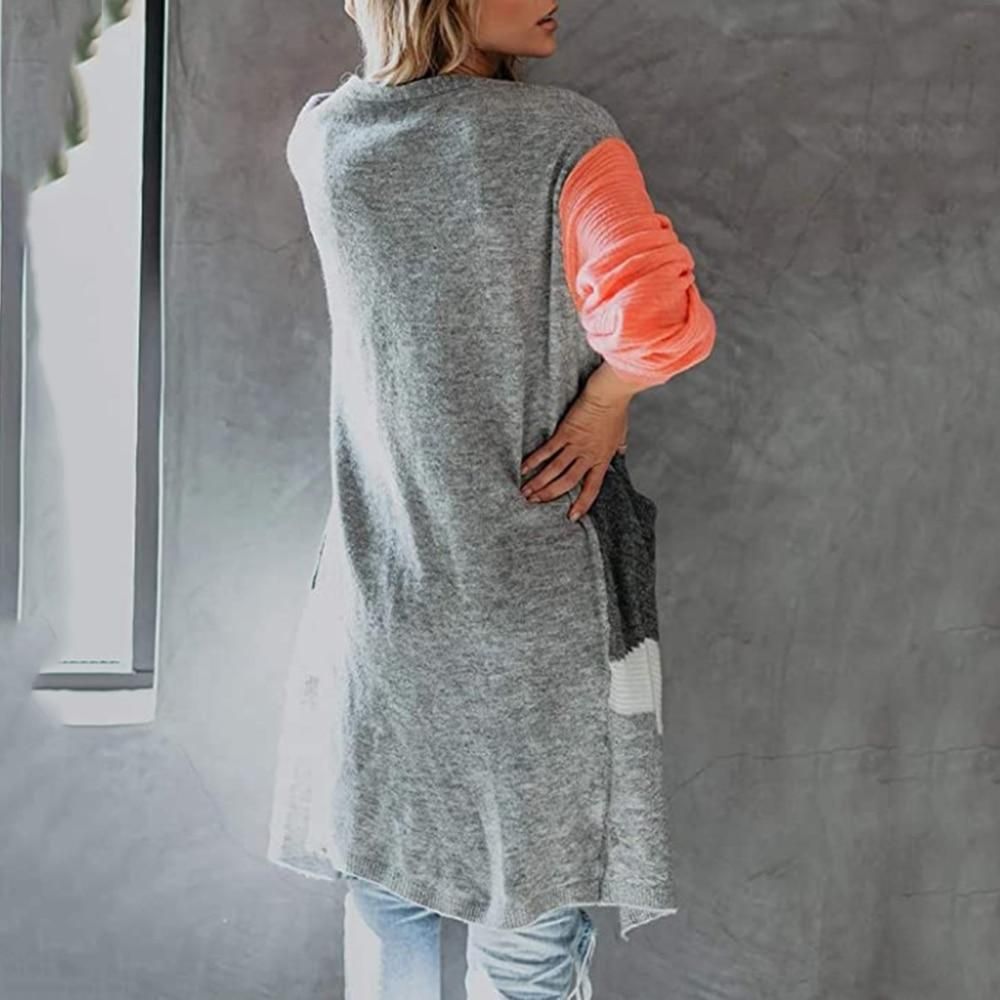 Women's color block open front cardigan knitted pocket cardigan