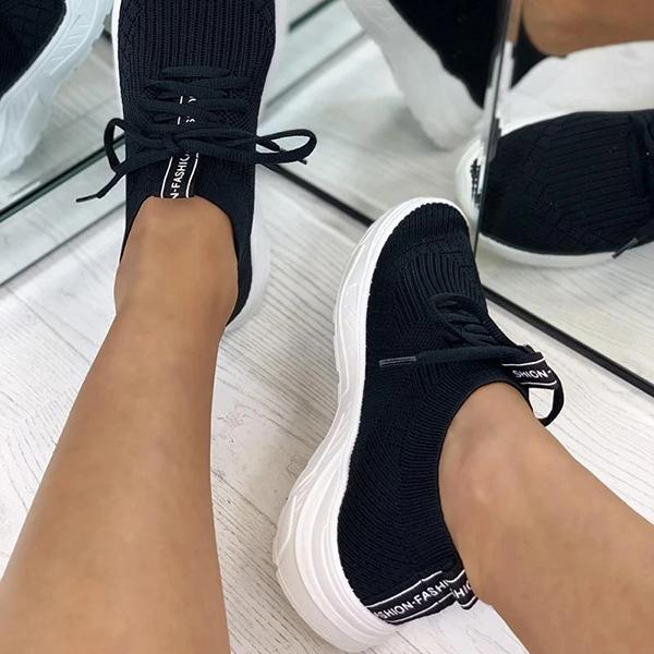 Lemmikshoes Breathable Colorblock Knitted Elastic Cuff Lace-Up Comfortable Sneakers