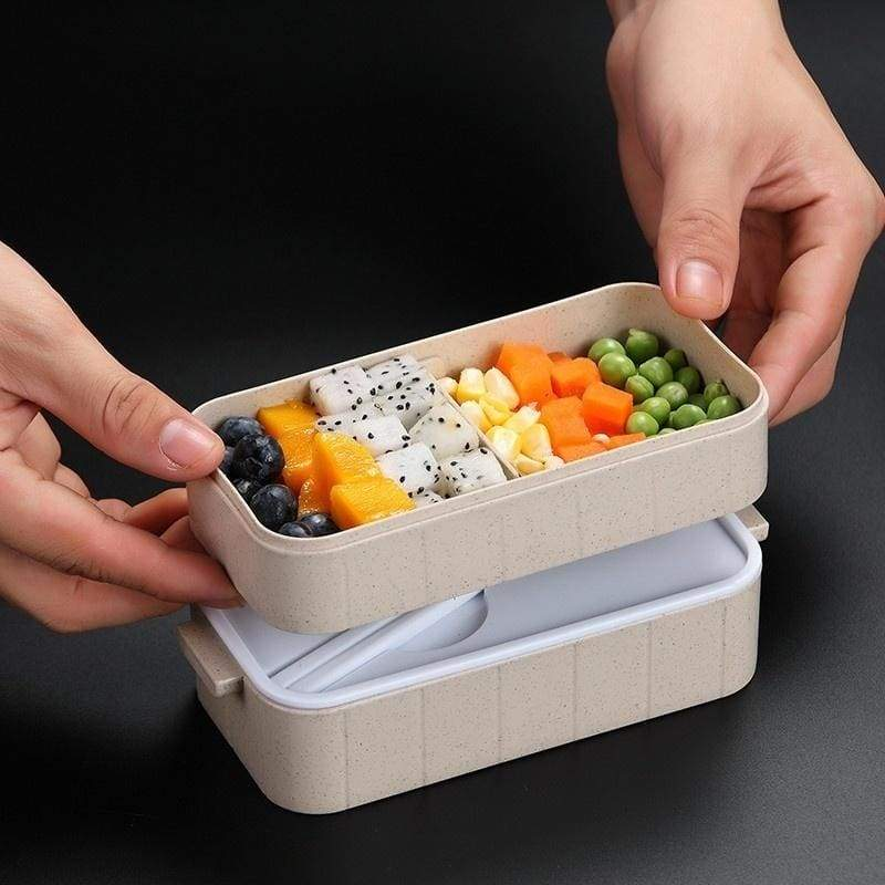 Microwave Bento Box Wheat Straw Child Lunch Box Leak-Proof Bento Lunch Box For Kids School Food Container