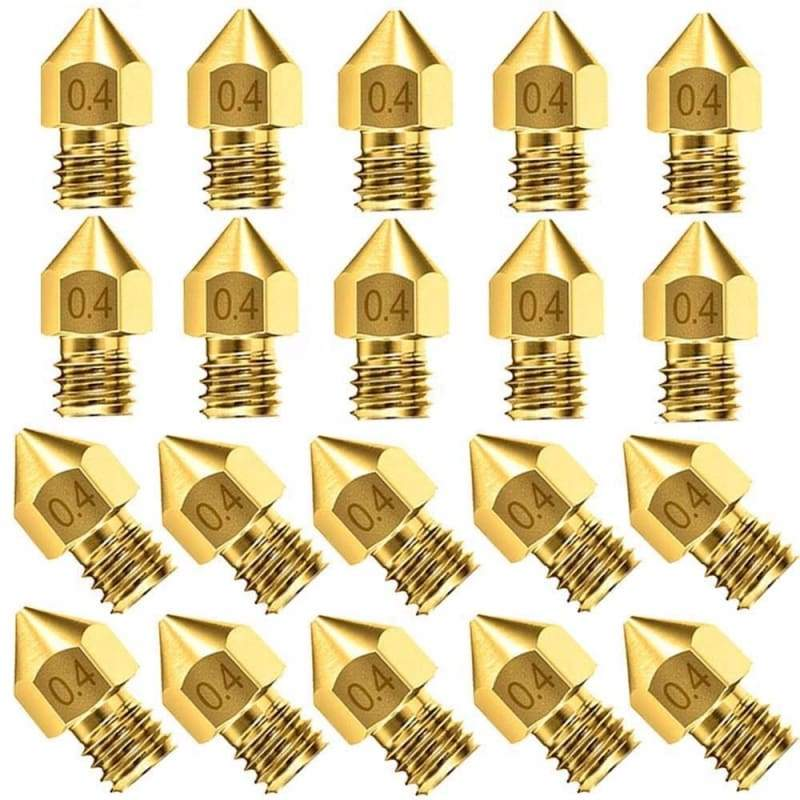 10PCs/20Pcs 3D Printer Nozzle Accessory MK8 0.4mm For CR-10 For Ender 3 For Anet A8