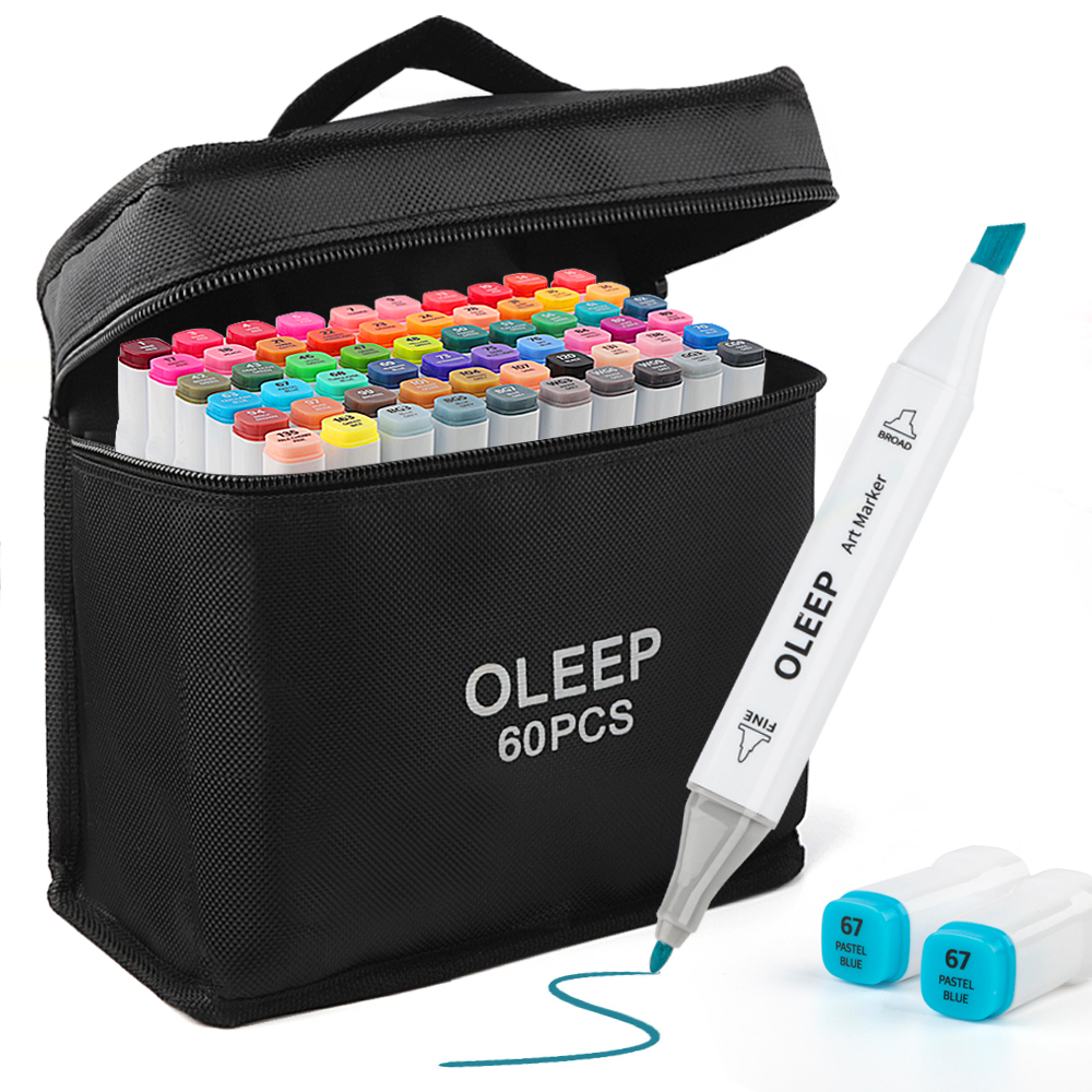 OLEEP Classic 60 Color Twin Markers,Broad and Fine Nibs