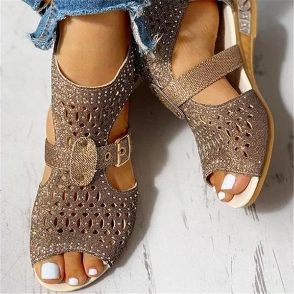 Lemmikshoes Studded Hollow Out Peep Toe Buckled Sandals