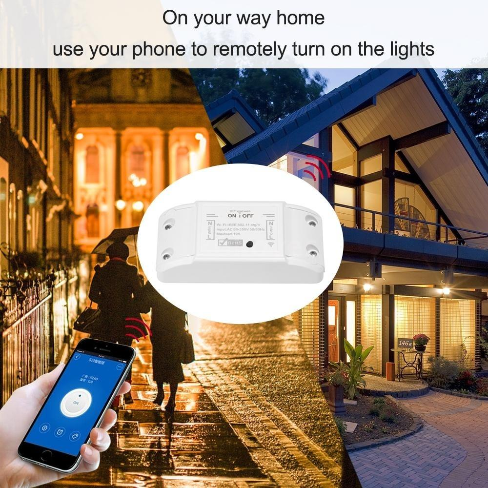6/5/4/3pcs Wifi Smart Switch Compatible with Amazon Alexa & for Google Home Timer 10A/2200W Wireless Remote Switch for Android/IOS APP Control for Electric Appliances Universal Smart Home Automation Module