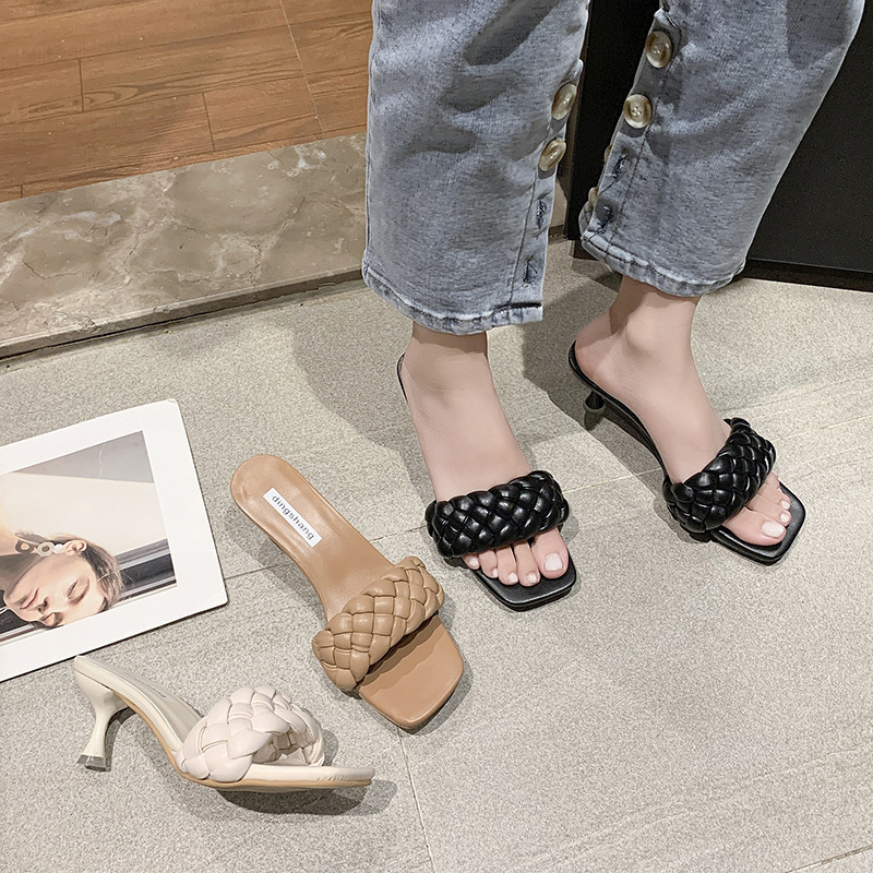 Leather twist slippers