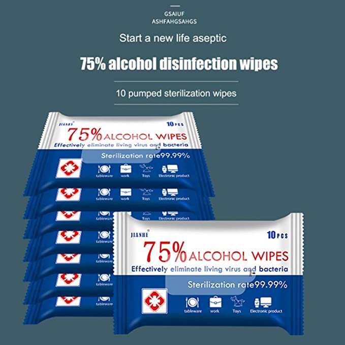 (20 PACKS 200 WIPES) 75% ALCOHOL ANTIBACTERIAL CLEANING WET WIPES