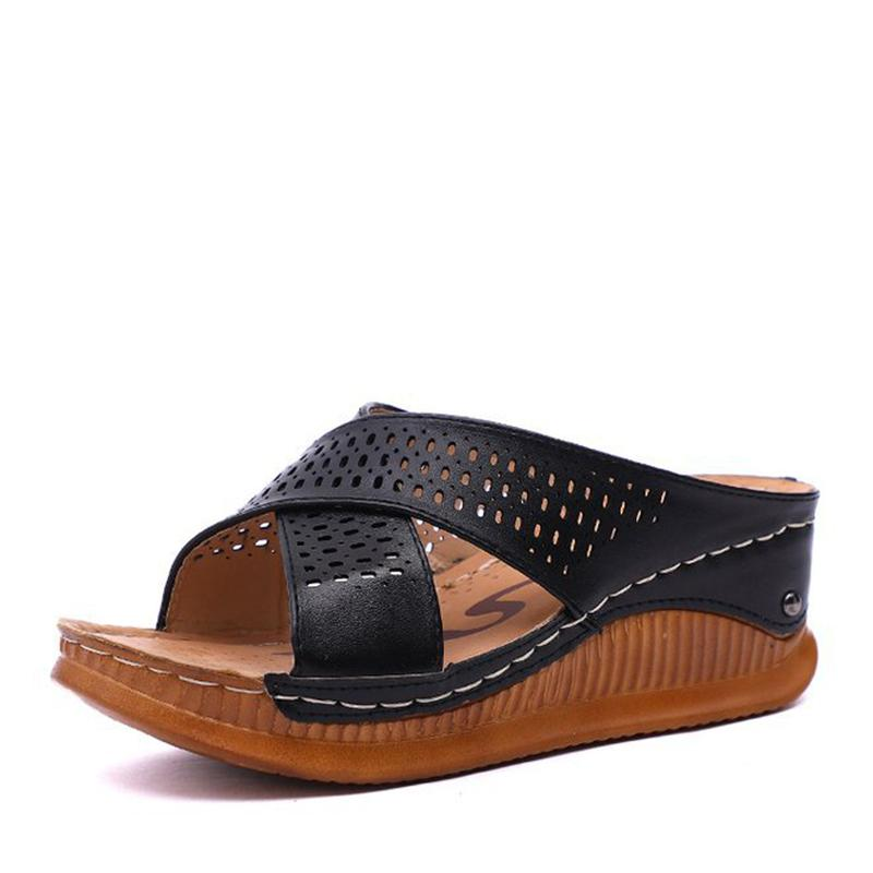 Cross style hollow-carved slippers