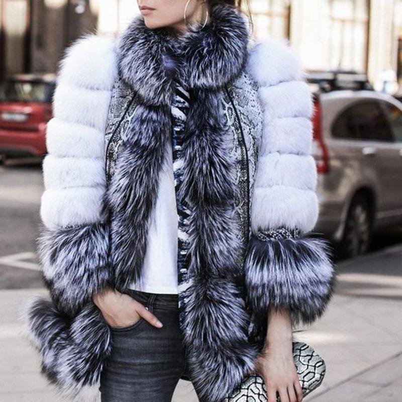 Casual Outdoor Statement Faux Fur Long Sleeve Plain Overcoat