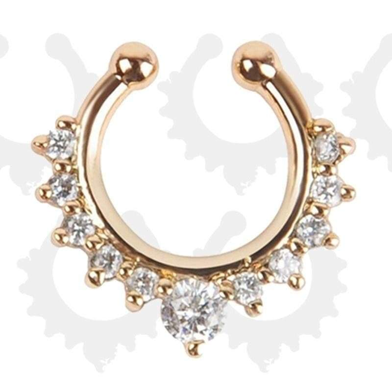 Fashion Fake Septum Medical Titanium Nose Rings Fake Piercing With Crystal Six Color Body Hoop Septum Fake Clip Hoop,1Piece