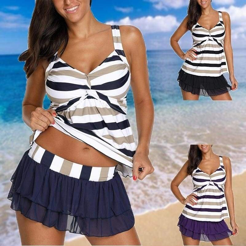 2018 Women's Sexy Backless Striped Twist Front Tankini Top and Pantskirt