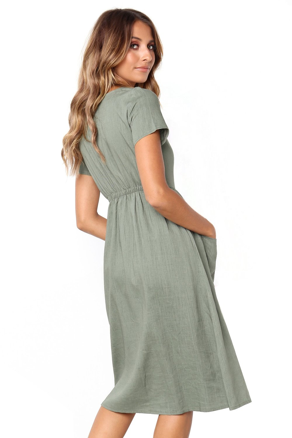 Women Clothing Designers The Best Green Stylish Button Front Midi Dress with Pockets