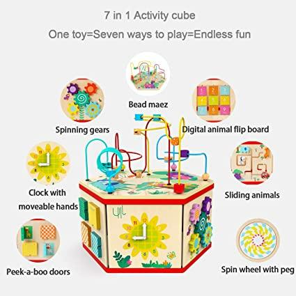 Activity Cube Toy for 1 Year Old Girl Gift Wooden Baby Toy Cube