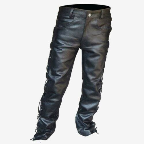 Plus Size Men's Black Thick Leather Side Laces Up Jeans Style Long Pant Motorcycle Leather Trousers
