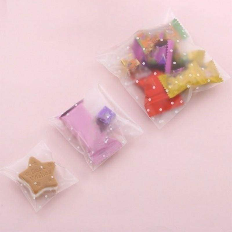 100pcs 3 Size Creative Frosted Dots Plastic Pack Candy Cookie Baking Packaging Bags Self-Adhesive Party Biscuit Dots Wrapping Supplies
