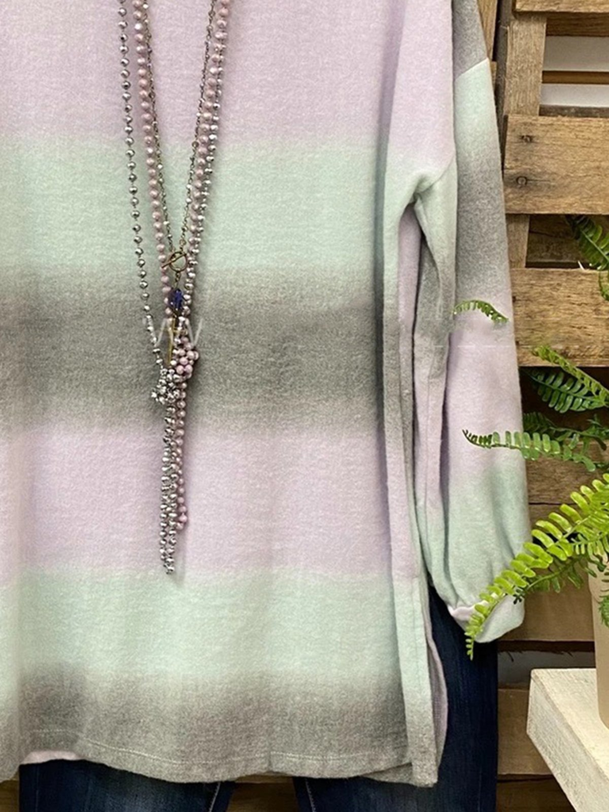 Light Green Ombre/tie-Dye Printed Casual Shirts & Tops
