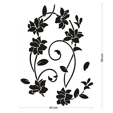 Decorative Wall Stickers - Plane Wall Stickers Romance / Fashion / Botanical Living Room / Bedroom / Dining Room / Washable / Removable