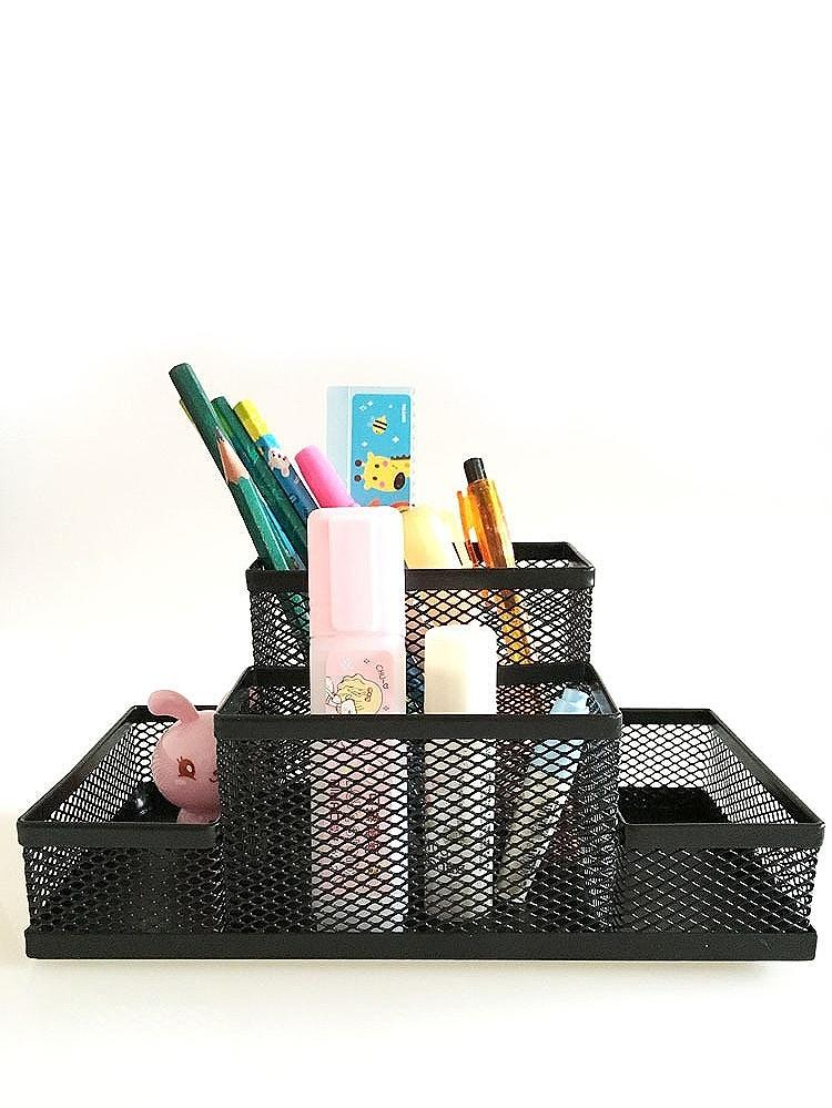 4 Compartment Metal Mesh Pen Holder