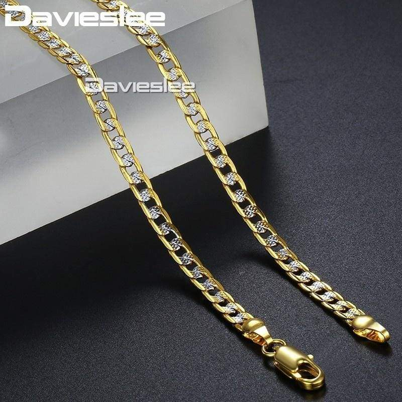 Davieslee Women Men Hammered Curb Cuban Gold Filled Necklace Chain Nicerin Best Goods Free Shipping