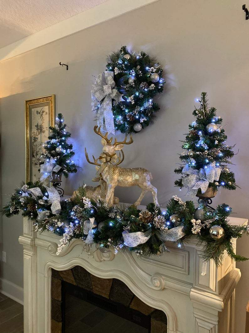Set of 4pc, Christmas Garland, Wreath, Garland and 2 Topiaries.  Cordless, Pre-lit, Cool White Light