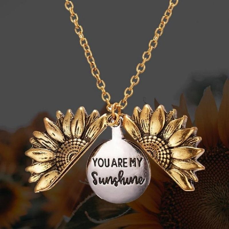 """""""You Are My Sunshine""""  Inspirational Sunflower Necklace Gift"""