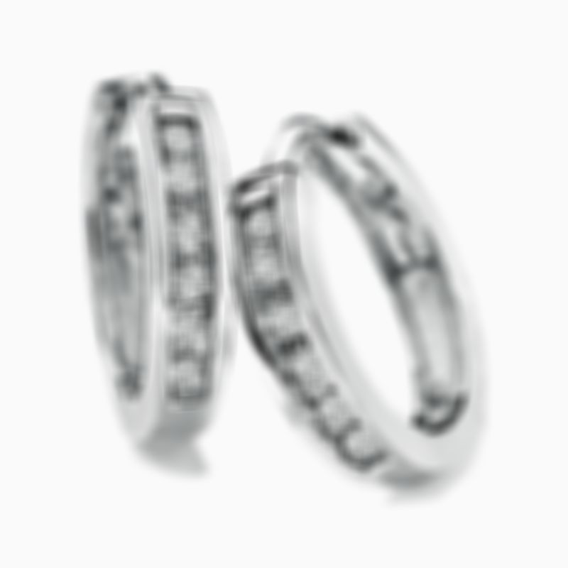Diamond Huggie Hoop Earrings in 10K White Gold
