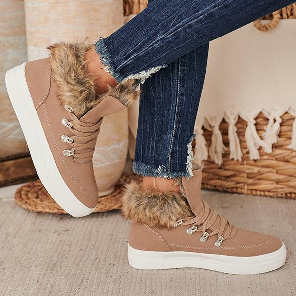 Faddishshoes Forward Faux Fur Trimmed Sneakers