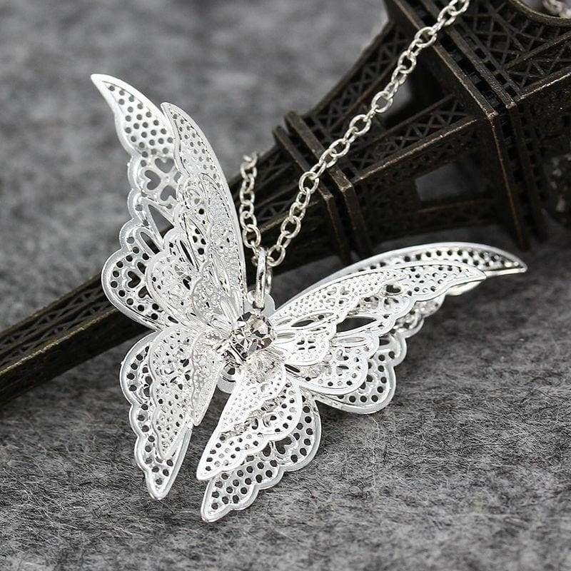 New 925 Sterling Silver Lovely Butterfly Pendant Chain Necklace 20