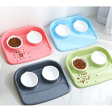 Dogs Cats Feeders / Food Storage 0.4 L Plastic Multi layer Casual / Daily Solid Colored Green Blue Pink Bowls & Feeding