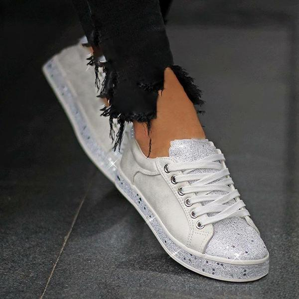 Women Plus Size Glitter Leather Lace Up Athletic Sneakers