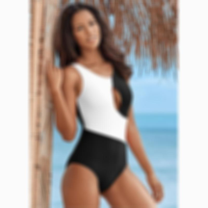 White and Black One-Piece Cut Out Swimwear