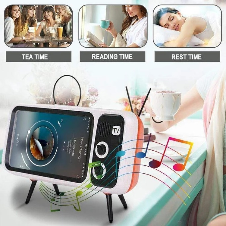 (Women's Day Hot Sale 50% OFF)Retro TV BlueTooth Speaker Mobile Phone Holder