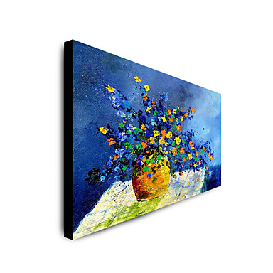 Oil Painting Hand Painted - Abstract Floral / Botanical Modern Rolled Canvas
