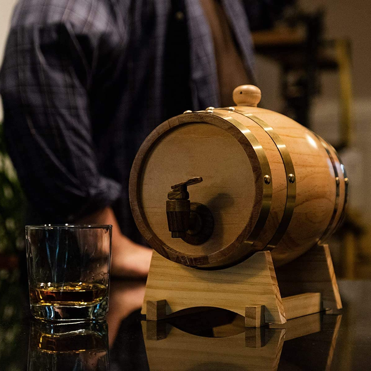 Father's Day Gift🎁Vintage Wood Whiskey Barrel Dispenser, for Storing Whiskey, Beer, Wine, Bourbon, Tequila, Rum, Hot Sauce