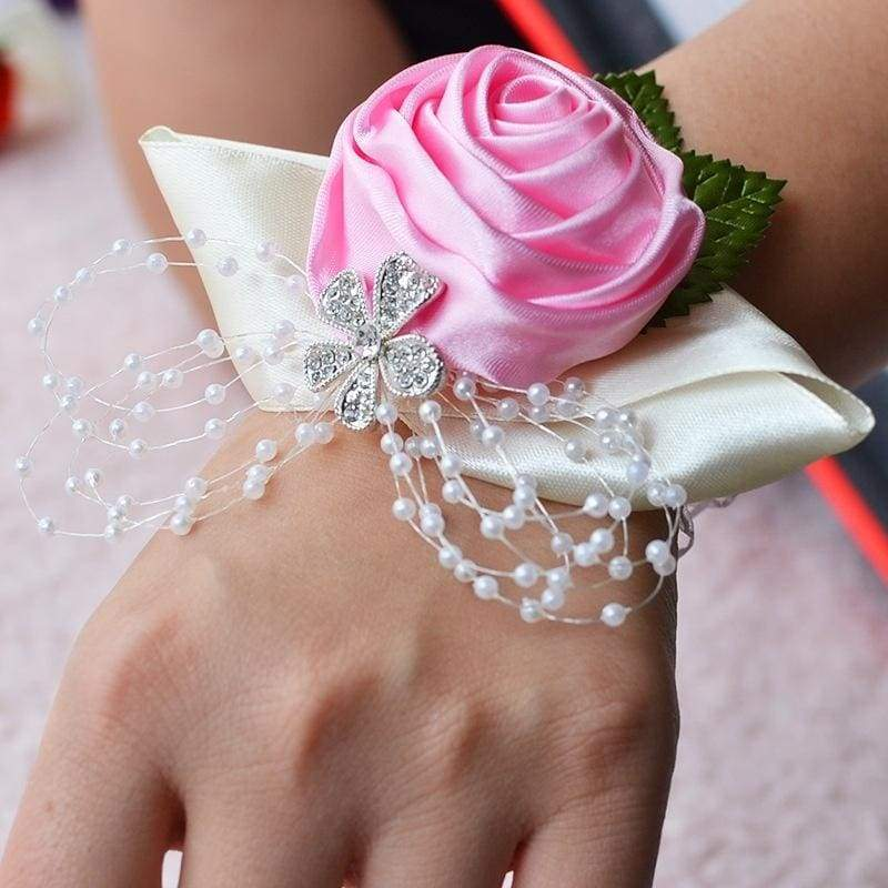 1 Pcs Handmade Wedding Wrist Flower Bride Bridesmaids Wrist Corsages Bridal Wrist Bouquets Wedding Supplies