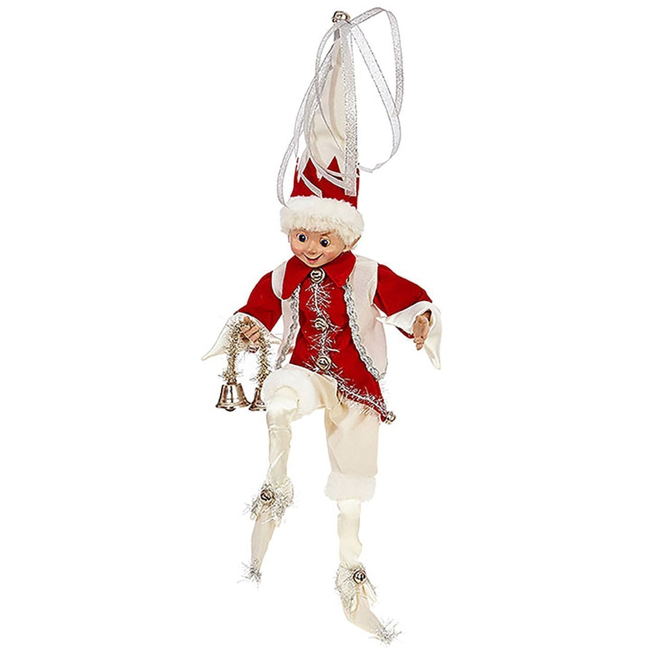 Silver,Cream,and Red Posable Elf Christmas Figure