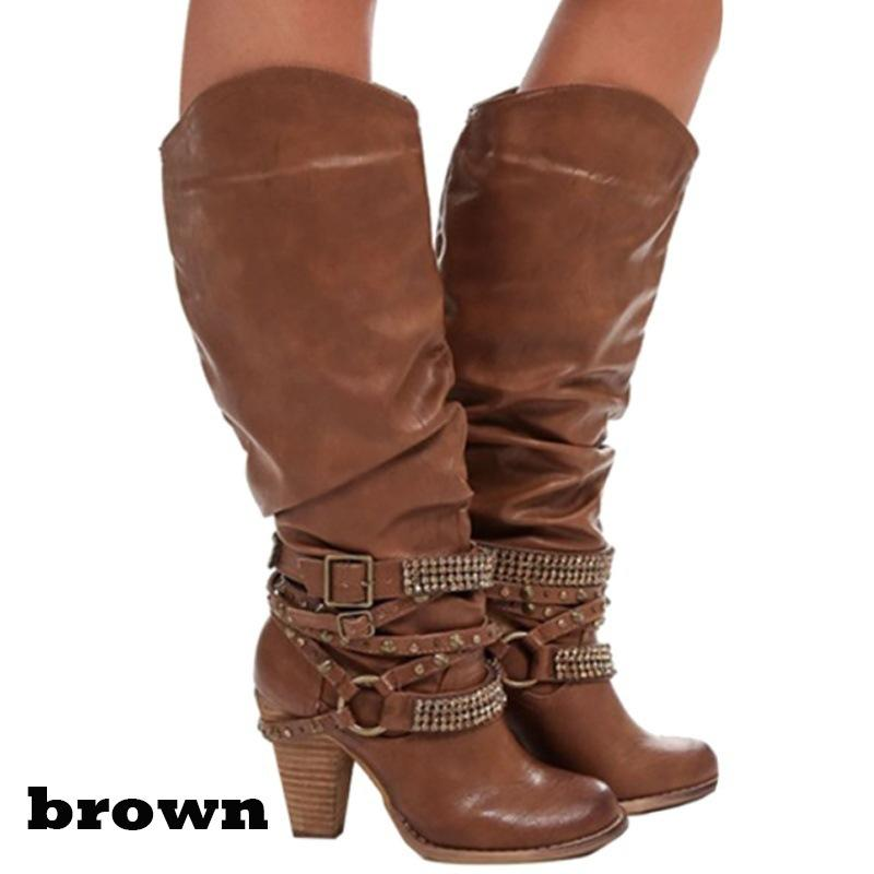 Women Pure Color Rhinestone Strap Buckle Round Toe Chunky Platform Studded Wide Calf Boots