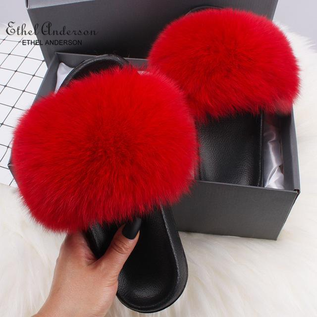 50% Off-Faux Fur Luxury Slides Slippers-Artificial hair