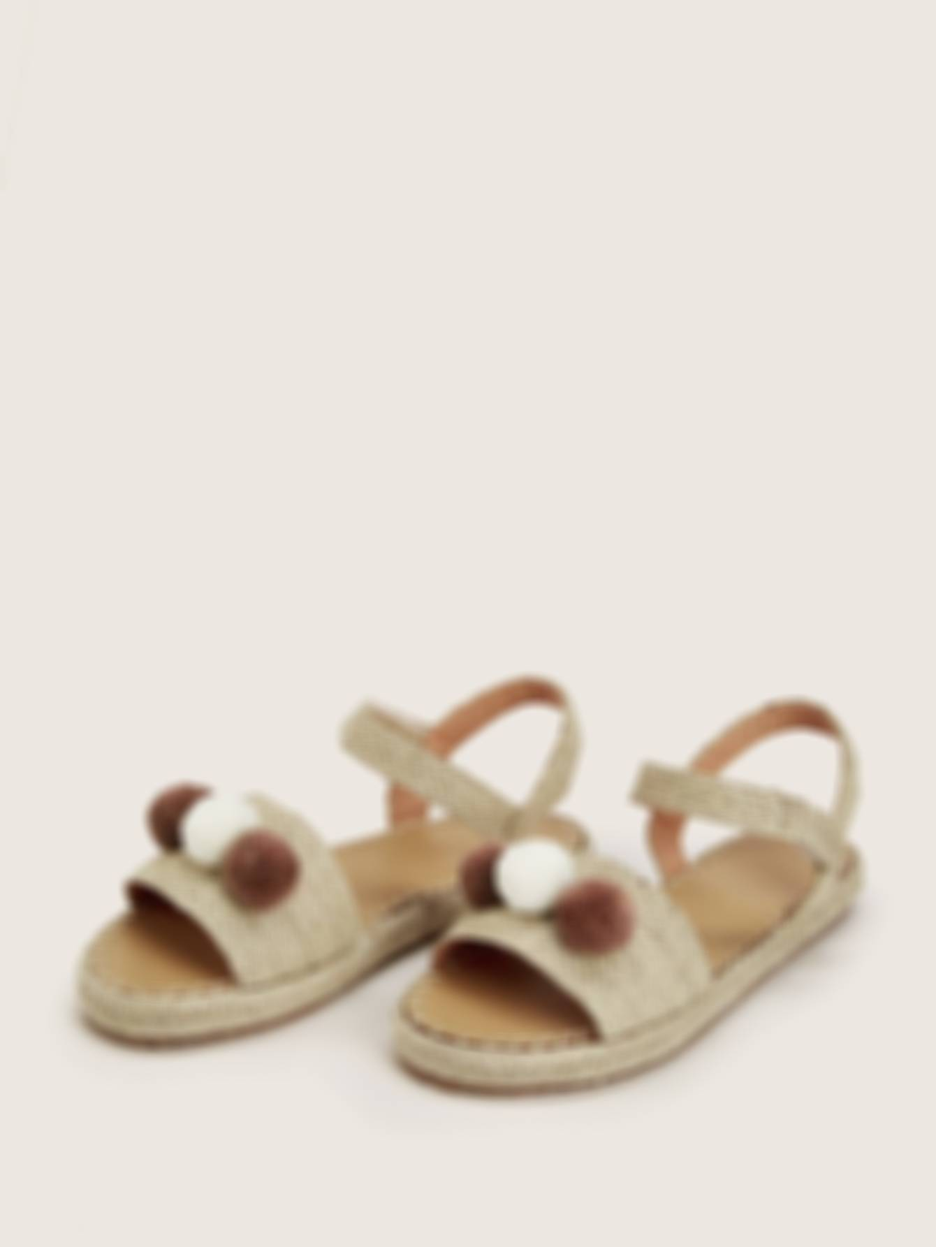 Pom Pom Decor Flat Sandals