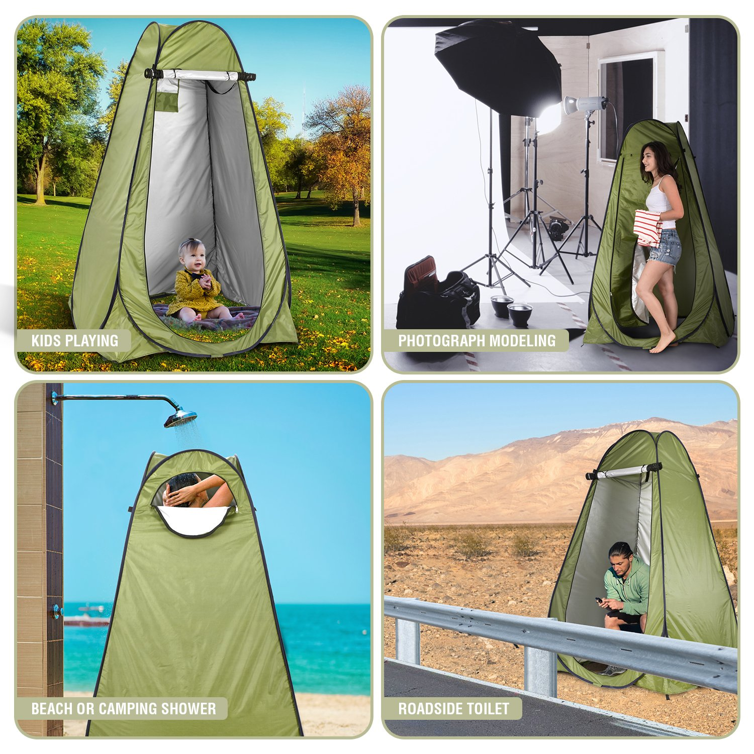 Fully automatic quick changing, shower, bathing, fishing, swimming and changing tent
