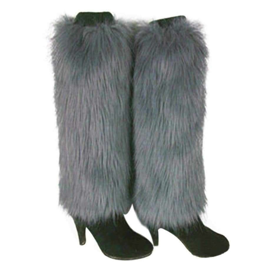 Inviting Women Winter Fashion Faux Fur Boot CoversFurry Solid Color  Soft Leg Warmers