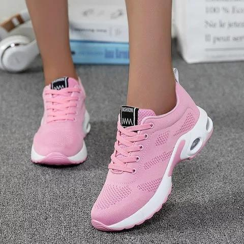 Women Lace Up Hollow Out Breathable Athletic Sneakers