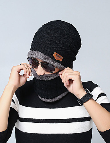 Men's Unisex Work Basic Acrylic Knitwear Ski Hat-Solid Colored Fall Winter Black