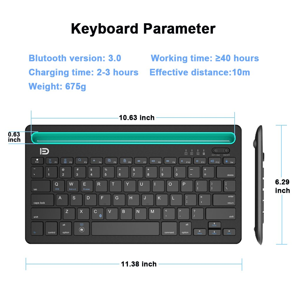 Slim Multi-Device Wireless Keyboard