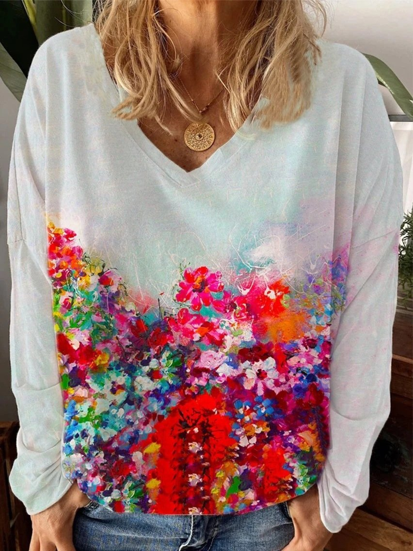 Floral Print Casual V Neck Long Sleeve T-shirt