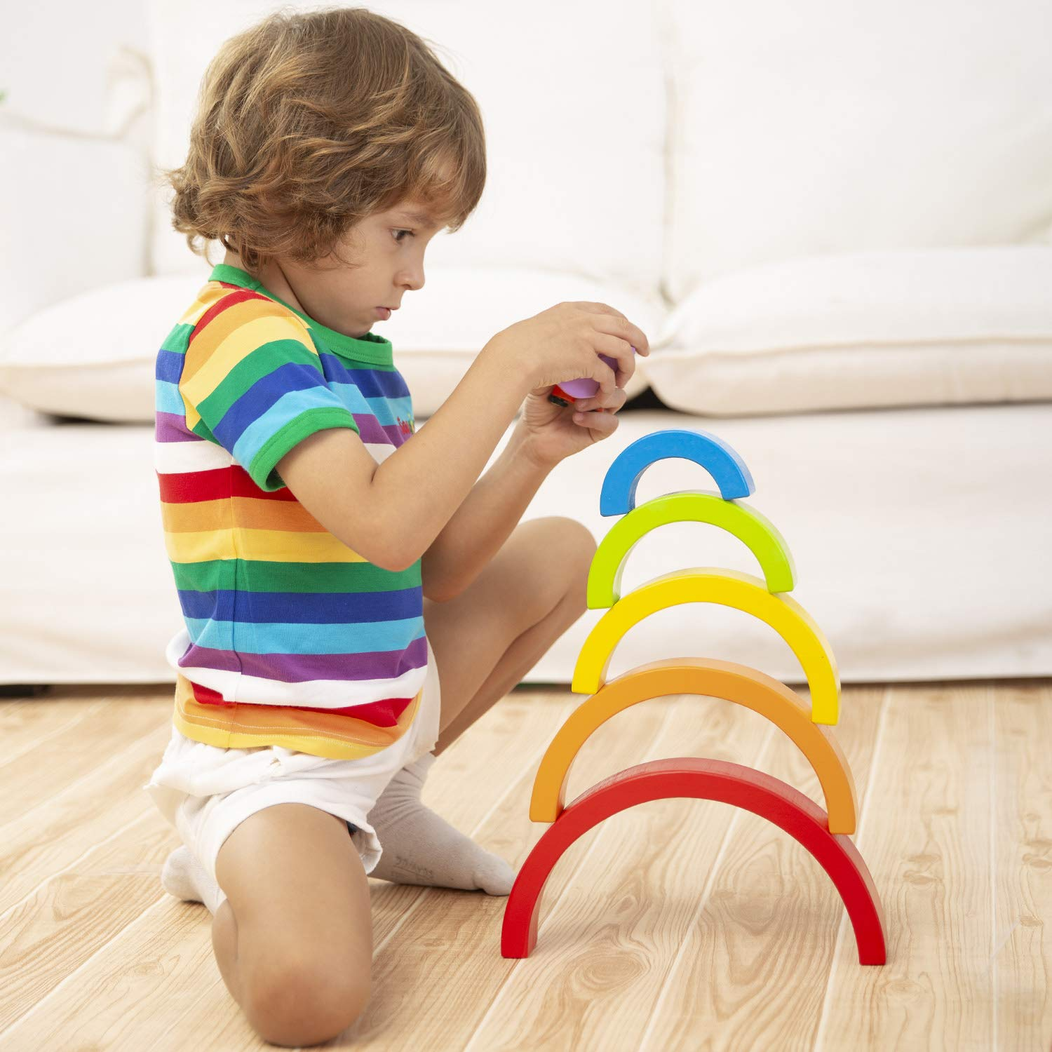 🔥HOLIDAY SEASON PROMOTION—Buy 3 Get 1 Free - Buy 5 Get 3 Free 🎁Stacking Wooden Rainbow