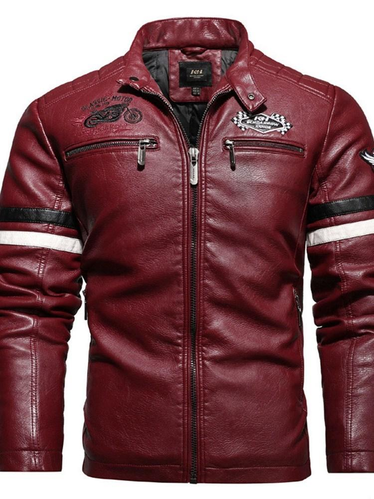 Standard Stand Collar Color Block Pocket Slim Leather Jacket