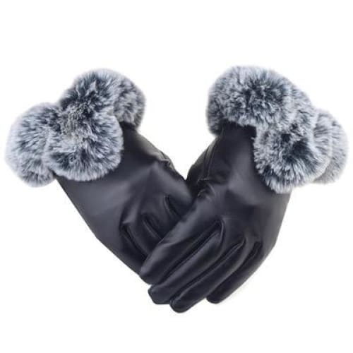 Leather Gloves Ladies Autumn and Winter Thick Warm Riding PU Gloves Female Models Plus Fluffy Ball Gloves
