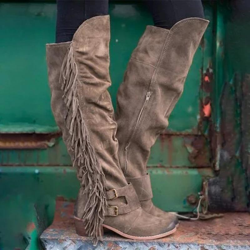 Women Low Heel Suede Winter Tassel Boots