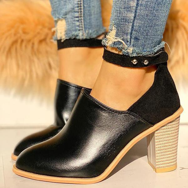 Faddishshoes Ankle Strap Chunky Heels