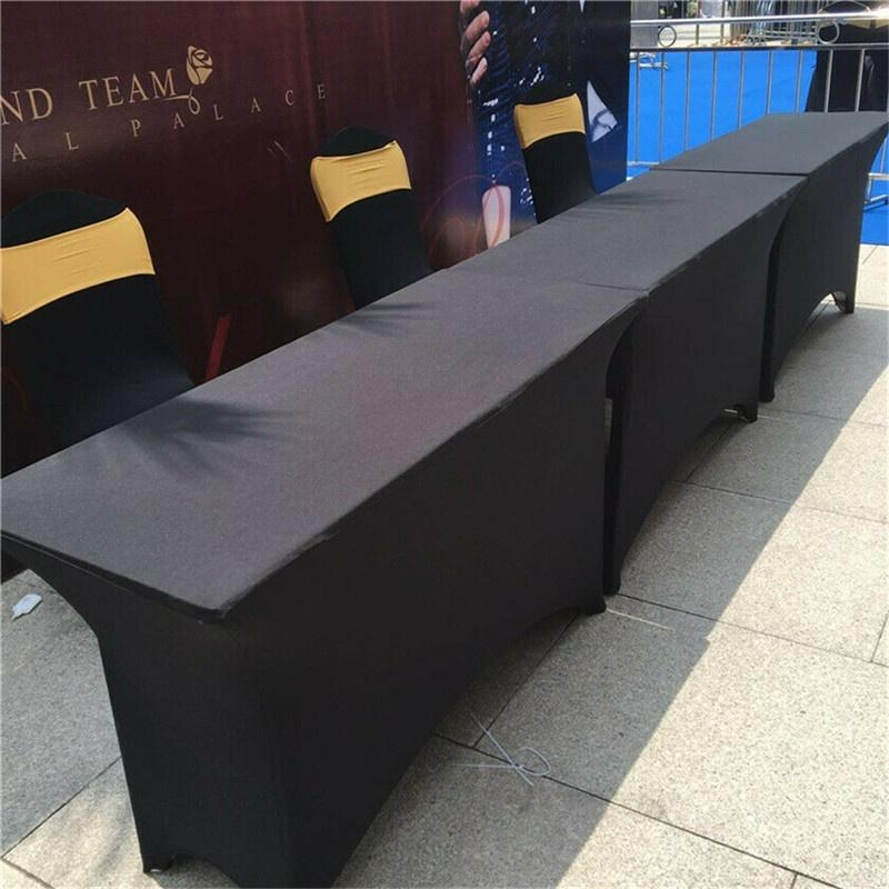 6ft Rectangular Trestle Table Cover Spandex Lycra Fitted Black Tablecloth